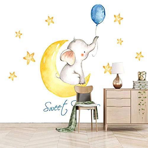 SJKstore Mural de la etiqueta de la pared 3D Dibujos animados, animal, elefante bebé 250x175CM Mural de papel tapiz autoadhesivo, impermeable, saludable y ecológico de bricolaje, decoración del hogar