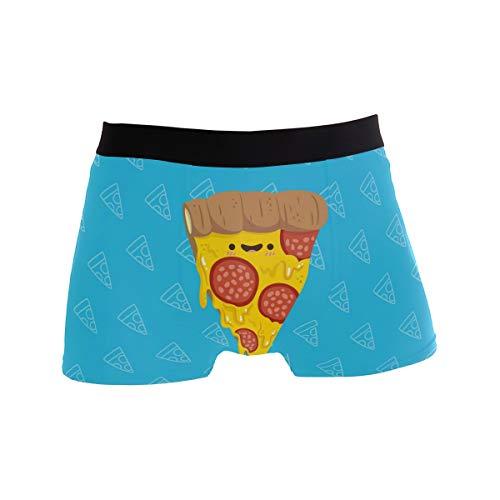 BONIPE Niedliches Cartoon-Emotion-Pizza-Muster, Triangel-Boxershorts, Herren-Unterwäsche, Jungen, Stretch, atmungsaktiv, niedrige Taille, Größe S Gr. X-Large, mehrfarbig