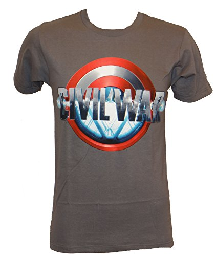 Marvel Civil War Iron Man Captain America Half Shield T-shirt (Small,Charcoal)