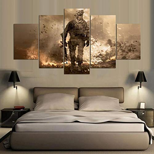 WFUBY 5 sub-pictures Decorative paintings HD Canvas Painting 5-piece Call of Duty Soldier Dormitorio Oil Painting(No Frame)-40x60x2 40x80x2 40x100cm