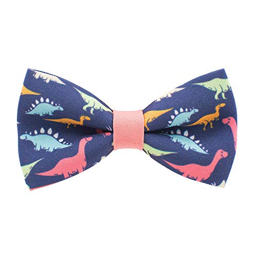 Dinosaurs bow tie pre-tied pattern blue-peach colors unisex shape, by Bow Tie House (Small)