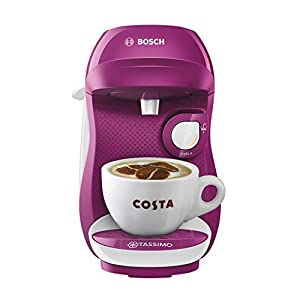 Bosch TASSIMO Happy TAS1001GB Coffee Machine, 1300 W, 0.7 Litres, Purple & White
