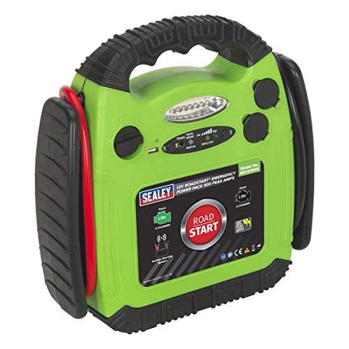 Sealey RS1312HV Roadstart Emergency Power Pack, 900 Peak Amps, 12V, Hi-Vis Green