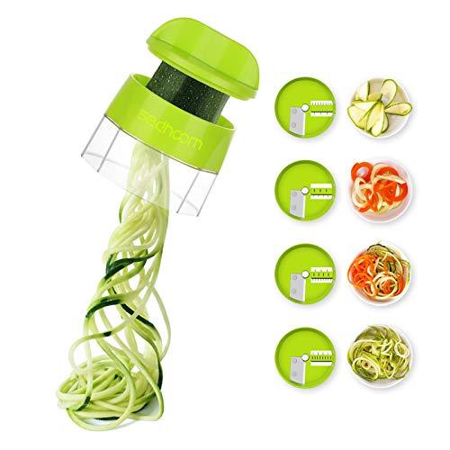 Zucchini Spiraler Veggie Spiralizer Sedhoom 4 in 1 Spiralizer Noodle Maker Vegetable Spiralizer Handheld Spiralizer Spiralizer Vegetable Slicer Zoodler Spiralizer Handheld Great for Salad