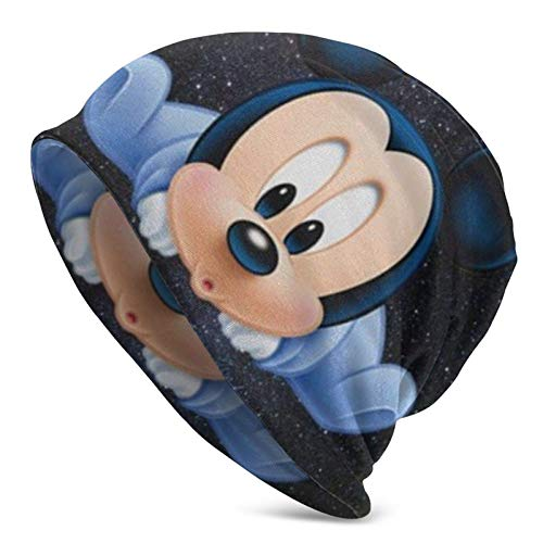 JONINOT Baby Mi-C-k-EY Mouse Knit Hat Multifuncional Ligero Casual Beanie Hat Gorra de Calavera Suave Ligero Transpirable Unisex Sombreros Negro