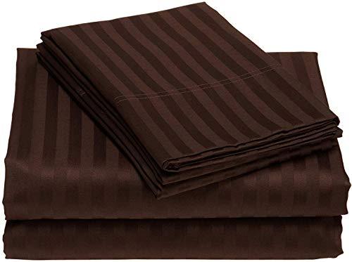 5 PC Duvet Cover Set (1 Zipper Closser Duvet Cover and 4 Pillow Cover) 400 Thread Count, 100% long staple cotton, Chocolate Stripe, King Single Size
