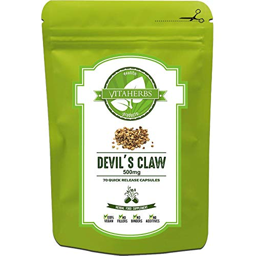 Devil's Claw 500mg - 70 Capsules (5 Weeks Supply) |  Pure Devil's Claw  Unprocessed  No Additives  No Fillers  No Preservatives  100% Natural Product  100% Vegan  Free UK Delivery