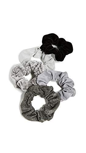 Kitsch Velvet Scrunchies for Hair, Hair Scrunchies for Women, Scrunchy Hair Bands, 5 Pack (Black/Grays)