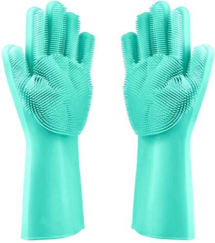 Premium Silikon Geschirrspül Handschuhe mit Noppen zum Geschirr Spülen (Blau) - Idealer Reinigungs Handschuh für perfekt gereinigtes Geschirr dank feiner Bürste