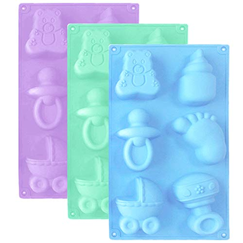 3 Pack Baby Shower Party Silicone Mold,DanziX Baby Carriage Feeding Bottle Little Feet Bear Pacifier Silicone Fondant Mold for Sugarcraft,Cake Decoration,Cupcake Topper,Chocolate-Purple,Blue,Green
