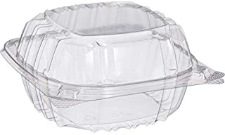 Dart Solo C57PST1-50 Small Clear Plastic Hinged Food Container 6x6 for Sandwich Salad Party Favor Cake Piece (Pack of 50)