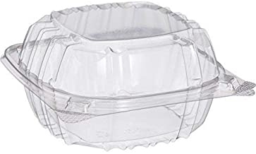 Dart Solo C57PST1-50 Small Clear Plastic Hinged Food Container 6x6 for Sandwich Salad Party Favor Cake Piece (Pack of 50),
