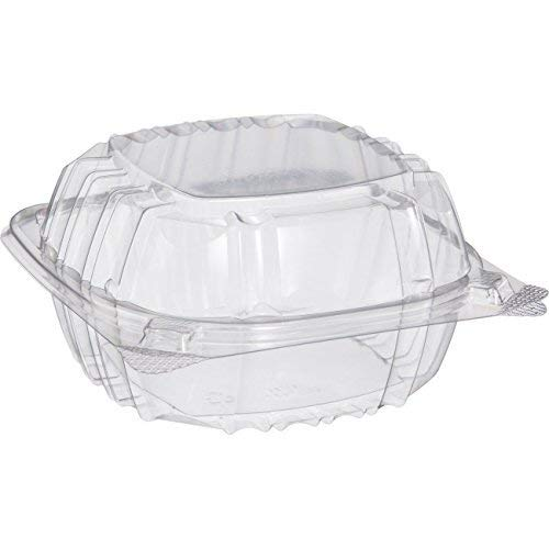Cheapest Prices! Dart Solo C57PST1-50 Small Clear Plastic Hinged Food Container 6x6 for Sandwich Sal...