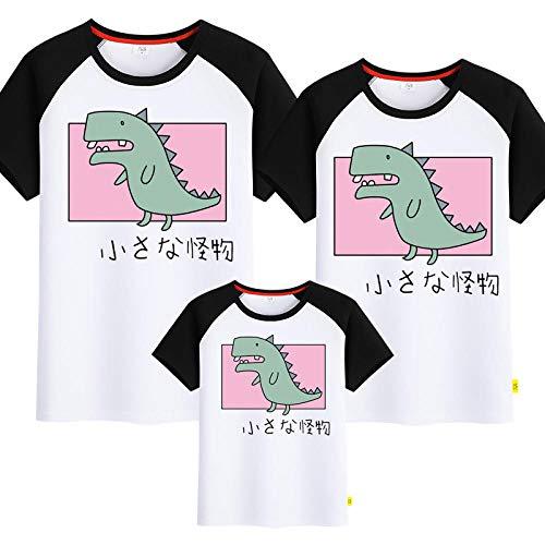 SANDA Jersey Punto Mujer,2020 Nueva Camiseta de Manga Corta de Dinosaurio Entre Padres e Hijos para Parejas Madre-Hijo Madre-Hija-Hombro Blanco y Negro_Mam M