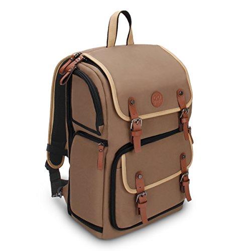 GOgroove Kamera Rucksack für Spiegelreflexkameras: DSLR Backpack ideal für Reisen, ausreichend Platz für Kamera & Zubehör, sowie Laptop und Stativhalter & wetterfestem Regenschutz, Braun