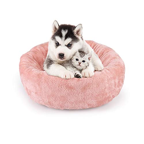 Haustierbett kuaetily Donut Katzensofa Hunde Sofa Rundes Plüsch Katzenbett Hundebett, Flauschig Haustierbett für Welpen Katzen Hunde | Ø 50 cm (Pink)
