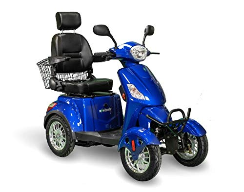 EWheels EW-46 Bariatric 4-Wheel Electric Mobility Scooter Long Range 35 Miles Fast 13mph Weight Capacity 400Lbs - Blue