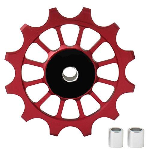 Bike Guide Wheel, 12T Jockey Wheels Pulley Alloy Road Mountain Bike Bicycle Rear Derailleur Pulley Roller Wheel Aluminum Alloy Ceramic Jockey Pulley Wheel