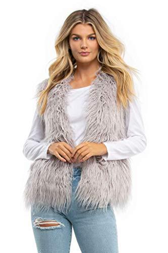 MINKPINK Endless Shaggy Faux Fur Vest (XS/S) Grey