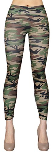 Damen Leggings Jeggings in bunten Farb Splash Muster/Army Camouflage Print Knöchellang - YLG081-082 (YLG082)