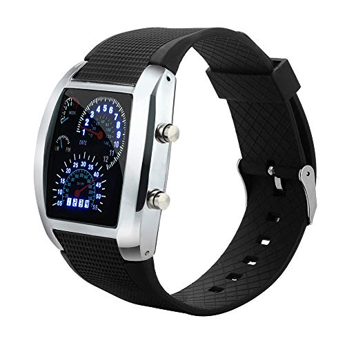 Abstand Armbanduhr FGHYH Männer Mode Led Licht Turbo Tacho Ssportwagen Meter Uhr Watch Armbanduhr(Schwarz)