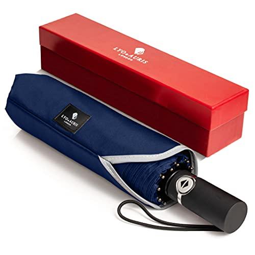 LYO & AURIS Folding Travel Umbrella - 10 Ribs Windproof Compact Golf...
