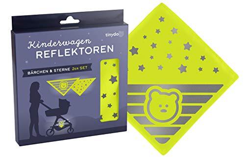 Reflektoren für Kinderwagen | 4er Pack | Universal einsetzbarer Reflektor für Kinderwagen, Buggy, Fahrradanhänger etc. | Süsses Bärchen & Sterne Motiv