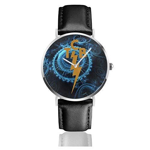 El-Vis TCB Logo Correa de Cuero Reloj Casual Acero Inoxidable Muñeca de Cuarzo Correa de Cuero Negro y Esfera Fina