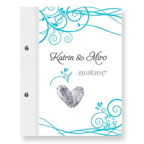 Stammbuch der Familie personalisiert 'Fingerabdruck' türkis A5 Familienbuch Familienstammbuch Stammbaum Stammbücher Holzbuch Hochzeit