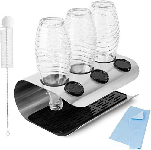ACCENTTO Premium Abtropfhalter aus Edelstahl, kompatibel mit SodaStream, 3er Flaschenhalter, Abtropfbehälter, Abtropfgestell, mit Deckelhalter, Abtropfmatte, Reinigungsbürste und Poliertuch
