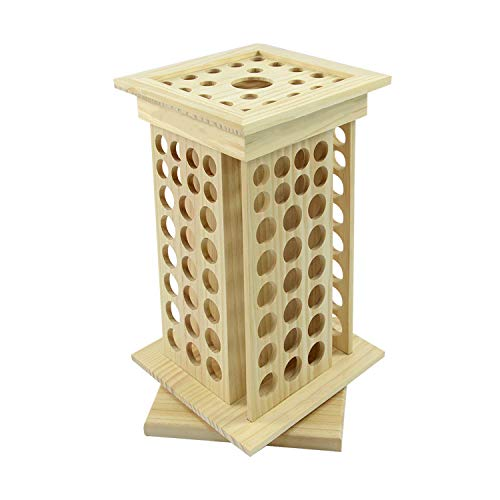 tonchean 8 Tier Natural Wooden Rotating Essential Oil Rack 125 Slots Essential Oil Storage Wooden Cosmetic Classification Shelf Essential Oil Bottle Display Holder Table Diffuser Stand for 5-115ml Roller Bottles