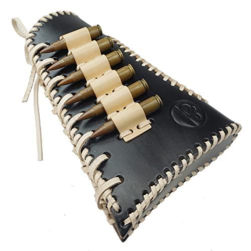 Tas Trost Buttstock Ammo Holder Shotgun Shell Pouch Cartridge Holder Rifle Cheek Rest Riser Pad for Left Handed (Black-Left Handed)