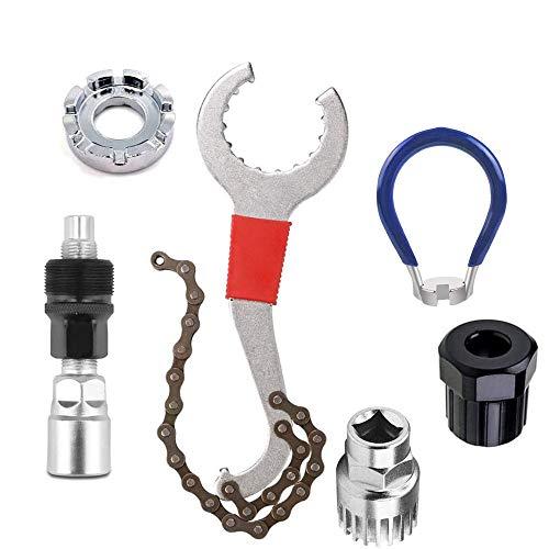 Schneespitze Tretlager Kurbelabzieher,Fahrrad Kassette Removal Tool mit 5-11 Fach Kompatibel Kettenpeitsche,Fahrrad Reparatur Set,Ahrrad Reparatur Werkzeug,Ketten Werkzeug für Fahrräder