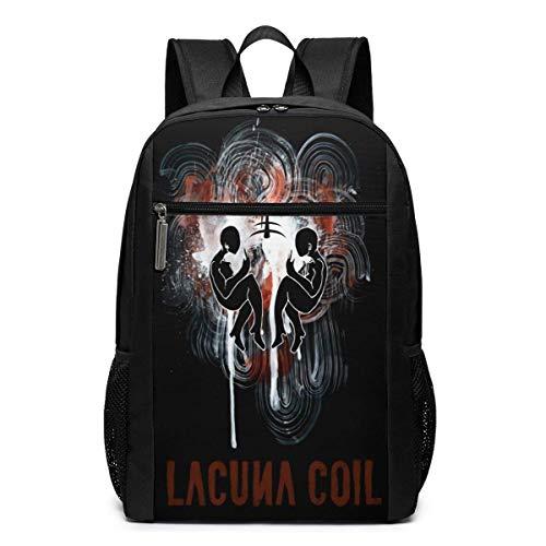 IUBBKI Schwarzer Seitenrucksack Lässige Tagesrucksäcke Lacuna Coil Oversized Backpack 17 Inch Laptop Bag School Business Travel Unisex Casual Fashion