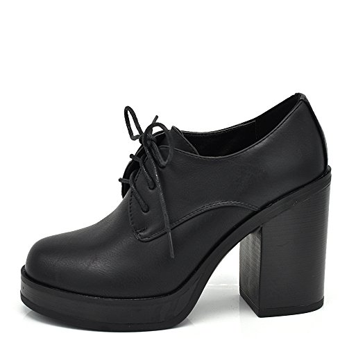 If Fashion Scarpe da Donna Pelle Sintetica Stringate Francesine Tacco Grosso 6165 Nero 36