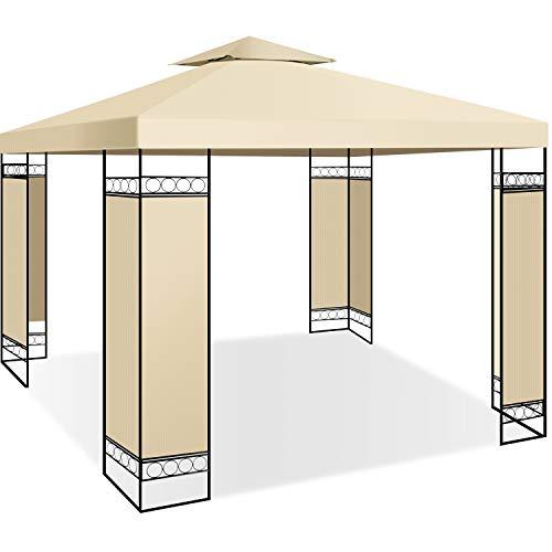 KESSER® - Pavillon 3x3m wasserabweisend UV-Schutz 50+ Metall Gestell Partyzelt Gartenzelt Luxus Gartenpavillon 9m² Festzelt, Beige