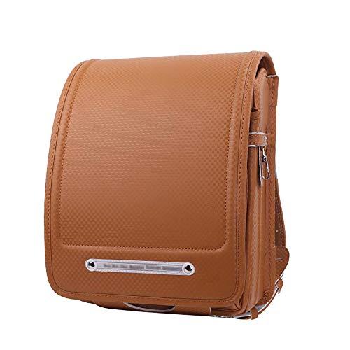 MIMI KING Hombro Estilo japonés Schoolbags automática Hebilla de la Cerradura de niños de Primaria Bolsa de tamaño A4 Ligera PU Mochila,Light Brown