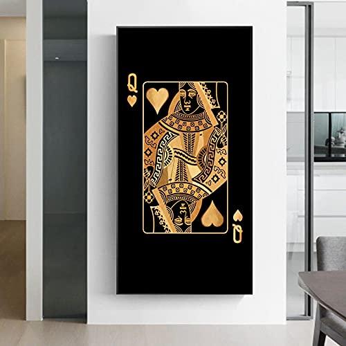Väggkonst Abstrakta spelkort Kung drottning Canvastavlor Affischer för estetiska rumsbilder Konsttryck Postrar Bild 23,6 x 47,2 (60x120cm) 1st Ramlös