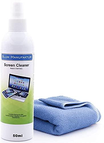 Blum Manufaktur Screen Cleaner - Bildschirm-Reiniger - PC-Reiniger - inkl. Mikrofasertuch 30 x 30 cm - Monitor-Reiniger - Made in Germany - 50 ml
