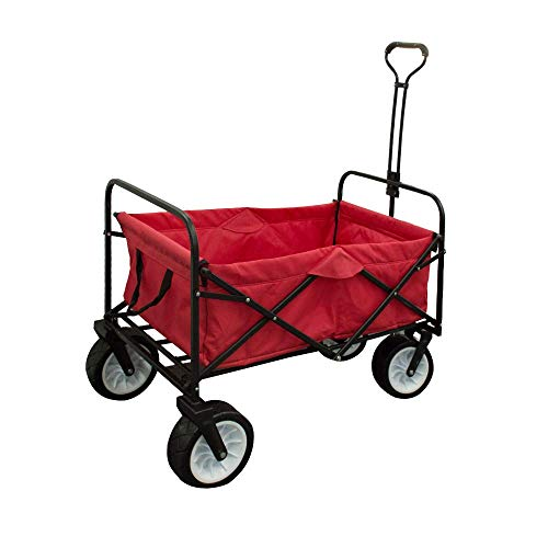 CGEAR Collapsible Beach Wagon – Patented Sand-Free Base with Push or Pull Handles, All-Terrain...