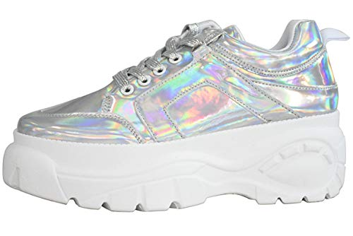 LUCKY STEP Women Chunky Platform Dad Colorblock White Neon Green Fuchsia Hologram Silver Casual Lace-Up Walking Sneakers (8.5 B(M) US, Hologram Silver)