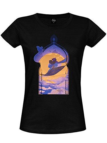 Aladdin - T-shirt pour dames Carpet Ride balade en tapis volant Génie Jasmine Disney - Coton - Noir - XL