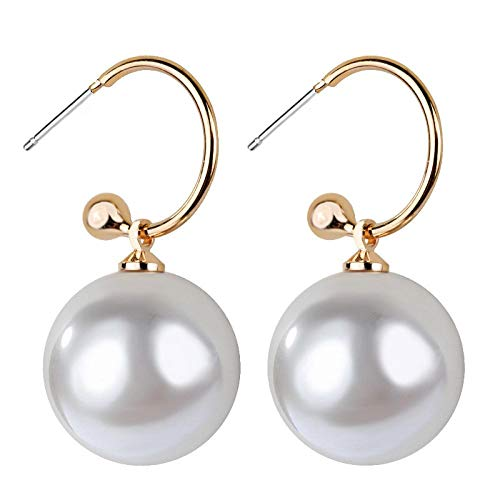 FASHLOVE 2 pendientes de perlas grandes de plata de ley 925 en forma de gota, diámetro de la perla de 14 mm, color perla.