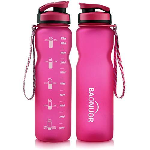 BAONUOR Trinkflasche 1L, BPA-Frei Tritan Wasserflasche Auslaufsicher Flasche 1000ml, rosa
