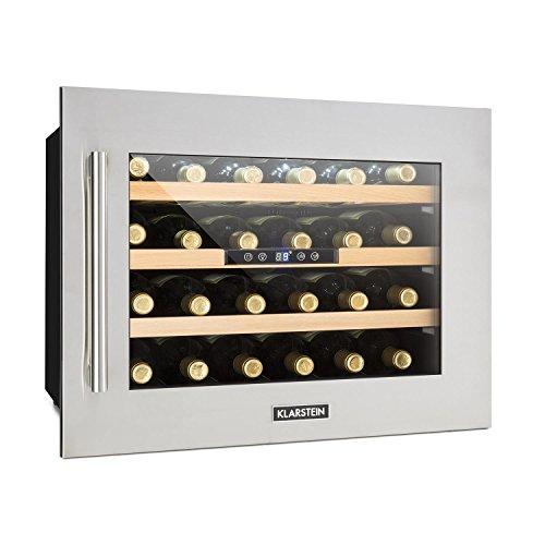 Klarstein Vinsider 24D - Weinkühlschrank, Einbau, 1 Kühlzone, 24 Flaschen, Edelstahl