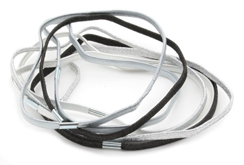 8 Childrens Thin Elastic Sparkly Mix Head Bands in White, Silver & Black by Zest