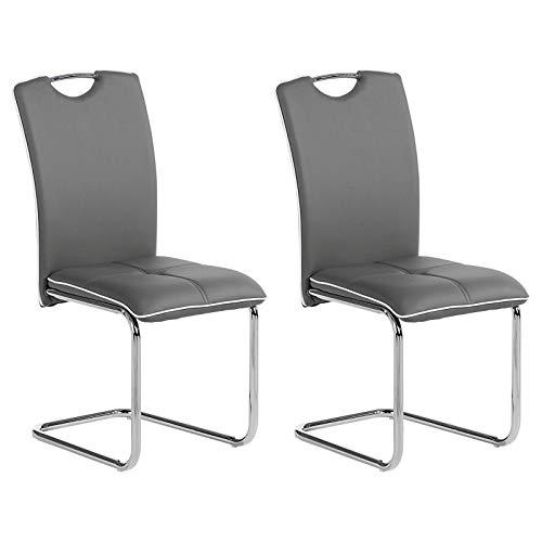 IDIMEX Schwingstuhl Eleonora modernes Design, Esszimmerstuhl Küchenstuhl Esstisch Stühle Küche Essstuhl Polsterstuhl, in grau, im 2er Set