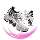 Aupast Scarpe da Ginnastica Scarpe da Skate per Donna, Scarpe da Ginnastica per Bambini Scarpe da Ginnastica con rotelle, Regalo per Principianti da Donna, Rosa-EUR40