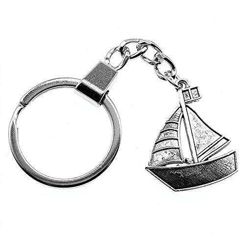 MENGYANG Schlüsselbund Segelboot Schlüsselring Segelboot Schlüsselbund 30X25Mm Antik Silber Farbe Segelboot Schlüsselanhänger Souvenir Geschenke Für Männer