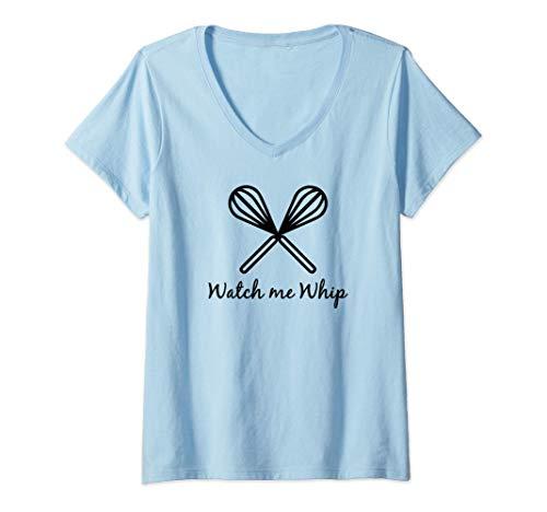 Mujer Mírame batir cocinar hornear batidores batir utensilios Camiseta Cuello V